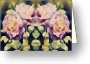 Faux Vintage Greeting Cards - Burning Retro Roses Greeting Card by Zeana Romanovna
