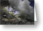 Fumarole Greeting Cards - Burning Sulphur In Mining Area On Kawah Greeting Card by Richard Roscoe