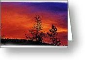 Janie Greeting Cards - Burning Sunrise Greeting Card by Janie Johnson