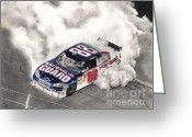 Dale Earnhardt Jr Greeting Cards - Burnt Rubber Greeting Card by Christian Conner