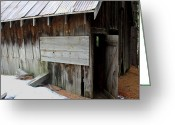 Amish Farms Greeting Cards - Burr Close The Door Greeting Card by Lydia Warner Miller