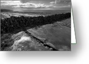 Sea Wall Greeting Cards - Burren rock wall co Clare Ireland Greeting Card by Pierre Leclerc