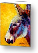 Burro Greeting Cards - Burro Study II Greeting Card by Marion Rose