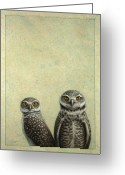 Owl Drawings Greeting Cards - Burrowing Owls Greeting Card by James W Johnson