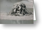 Mud Greeting Cards - Bursting Mud Bubble, Wai-o-tapu Greeting Card by Richard Roscoe