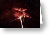 Illuminations Greeting Cards - Bursts in Blue Streaks Greeting Card by Kevin Munro