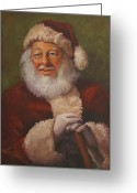 Santa Greeting Cards - Burts Santa Greeting Card by Vicky Gooch