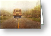 School Days Greeting Cards - Bus Stop Greeting Card by Kathy Jennings