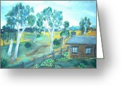Cabin Window Greeting Cards - Bush Cabin Greeting Card by Julie Butterworth