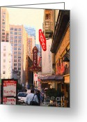 Big Cities Greeting Cards - Bush Street in San Francisco Greeting Card by Wingsdomain Art and Photography
