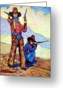 Lawmen Greeting Cards - Bushwacked at the Arroyo Greeting Card by Donn Kay