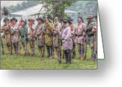 Frontier Art Greeting Cards - Bushy Run Milita Camp Roll Call Greeting Card by Randy Steele
