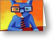 Whimsical Greeting Cards - Business Cat Greeting Card by Mike Lawrence