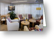 Airport Concourse Greeting Cards - Business Lounge at an Airport Greeting Card by Jaak Nilson