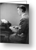 Typewriter Greeting Cards - Businessman Inside Office Typing Greeting Card by George Marks