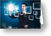 Future Tech Greeting Cards - Businessman Pressing Touchscreen Greeting Card by Setsiri Silapasuwanchai