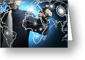 Future Tech Greeting Cards - Businessman touching world map screen Greeting Card by Setsiri Silapasuwanchai