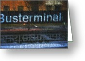 Harsh Greeting Cards - Busterminal Greeting Card by Odd Jeppesen