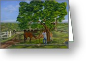 Rail Fence Greeting Cards - Busters Retreat Greeting Card by William Allen