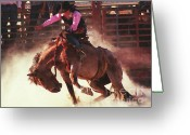 Bronc Greeting Cards - Bustin Loose Again Greeting Card by Terril Heilman