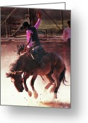 Bronc Greeting Cards - Bustin Loose Greeting Card by Terril Heilman