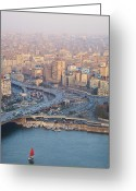 Middle East Greeting Cards - Busy Junction And The Nile With Traditional Boat Greeting Card by Kokoroimages.com