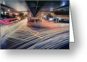 Traffic Greeting Cards - Busy Light Trail In City At Night Greeting Card by Yiu Yu Hoi