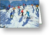 Skiing Greeting Cards - Busy Ski Slope Greeting Card by Andrew Macara