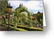 Hanging Baskets Greeting Cards - Butchart Gardens Arches Greeting Card by Carol Groenen