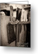 Meat Market Greeting Cards - Butcher shop knife rack Greeting Card by Andre Babiak