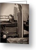 Meat Market Greeting Cards - Butcher shop saw Greeting Card by Andre Babiak