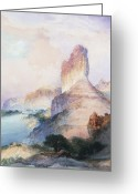 Wild Rivers Greeting Cards - Butte Green River Wyoming Greeting Card by Thomas Moran