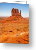 Desert Solitude Greeting Cards - Butte with truck Greeting Card by Jane Rix