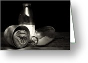 Mold Greeting Cards - Butter Mold and Milk Bottles Greeting Card by Tom Mc Nemar