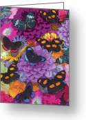 Colorful Photography Painting Greeting Cards - Butterflies and Flowers 2 Greeting Card by JQ Licensing