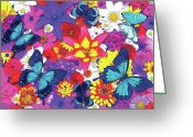 Photography Painting Greeting Cards - Butterflies and Flowers Greeting Card by JQ Licensing