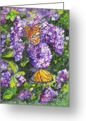 Botanical Drawings Greeting Cards - Butterflies and Lilacs Greeting Card by Carol Wisniewski