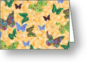 Insects And Butterflies Mixed Media Greeting Cards - Butterflies I Greeting Card by Alan Hogan