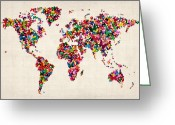 Map Of The World Greeting Cards - Butterflies Map of the World Greeting Card by Michael Tompsett