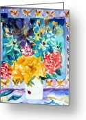 Still Life Greeting Card Greeting Cards - Butterfly Bouquet Greeting Card by Mindy Newman