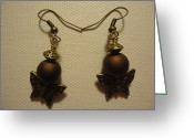Earrings Jewelry Greeting Cards - Butterfly Brown Earrings Greeting Card by Jenna Green