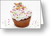 Cup Cakes Greeting Cards - Butterfly Cupcake Greeting Card by Andee Photography