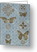 Carpet Painting Greeting Cards - Butterfly Deco 1 Greeting Card by JQ Licensing