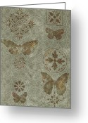 Carpet Painting Greeting Cards - Butterfly Deco 2 Greeting Card by JQ Licensing