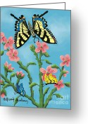 Butterflies And Blue Flowers Greeting Cards - Butterfly Greeting Card by Dessie Durham