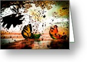 Butterfly Greeting Cards - Butterfly Fairy Boats Greeting Card by Bob Orsillo