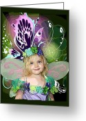 Whimsy Mixed Media Greeting Cards - Butterfly Fairy Greeting Card by Ellen Henneke