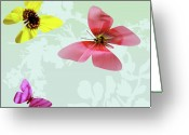 Vibrent Colored Landscape Greeting Cards - Butterfly Floral  3 Greeting Card by Debra     Vatalaro