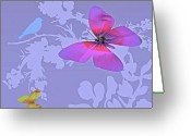 Vibrent Colored Landscape Greeting Cards - Butterfly Floral  8 Greeting Card by Debra     Vatalaro