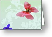 Vibrent Colored Landscape Greeting Cards - Butterfly Floral Greeting Card by Debra     Vatalaro